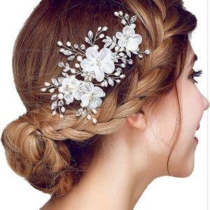 Bridal Flower Side Hair Clips Pearl Headpiece